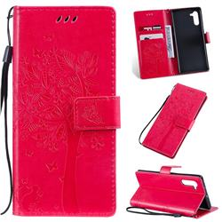 Embossing Butterfly Tree Leather Wallet Case for Samsung Galaxy Note 10 (6.28 inch) / Note10 5G - Rose