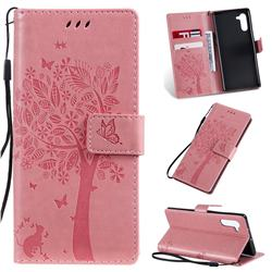 Embossing Butterfly Tree Leather Wallet Case for Samsung Galaxy Note 10 (6.28 inch) / Note10 5G - Pink