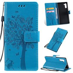 Embossing Butterfly Tree Leather Wallet Case for Samsung Galaxy Note 10 (6.28 inch) / Note10 5G - Blue