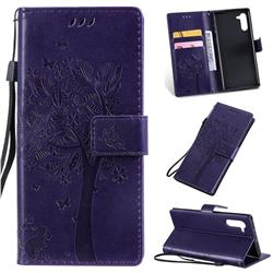 Embossing Butterfly Tree Leather Wallet Case for Samsung Galaxy Note 10 (6.28 inch) / Note10 5G - Purple