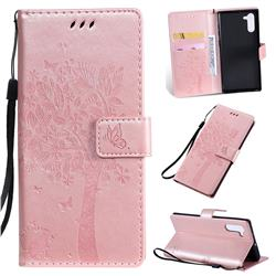 Embossing Butterfly Tree Leather Wallet Case for Samsung Galaxy Note 10 (6.28 inch) / Note10 5G - Rose Pink