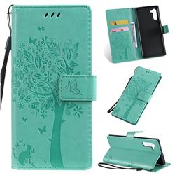 Embossing Butterfly Tree Leather Wallet Case for Samsung Galaxy Note 10 (6.28 inch) / Note10 5G - Cyan