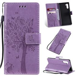 Embossing Butterfly Tree Leather Wallet Case for Samsung Galaxy Note 10 (6.28 inch) / Note10 5G - Violet