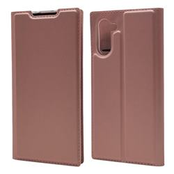 Ultra Slim Card Magnetic Automatic Suction Leather Wallet Case for Samsung Galaxy Note 10 (6.28 inch) / Note10 5G - Rose Gold