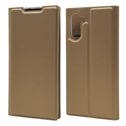Ultra Slim Card Magnetic Automatic Suction Leather Wallet Case for Samsung Galaxy Note 10 (6.28 inch) / Note10 5G - Champagne