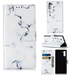 Soft White Marble PU Leather Wallet Case for Samsung Galaxy Note 10 (6.28 inch) / Note10 5G