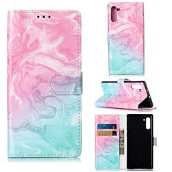 Pink Green Marble PU Leather Wallet Case for Samsung Galaxy Note 10 (6.28 inch) / Note10 5G