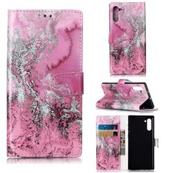 Pink Seawater PU Leather Wallet Case for Samsung Galaxy Note 10 (6.28 inch) / Note10 5G