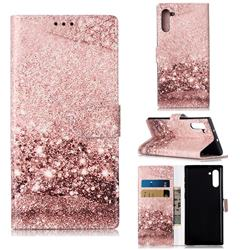 Glittering Rose Gold PU Leather Wallet Case for Samsung Galaxy Note 10 (6.28 inch) / Note10 5G