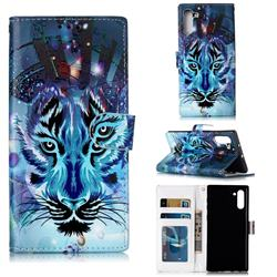 Ice Wolf 3D Relief Oil PU Leather Wallet Case for Samsung Galaxy Note 10 (6.28 inch) / Note10 5G