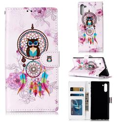 Wind Chimes Owl 3D Relief Oil PU Leather Wallet Case for Samsung Galaxy Note 10 (6.28 inch) / Note10 5G