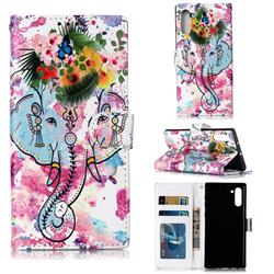 Flower Elephant 3D Relief Oil PU Leather Wallet Case for Samsung Galaxy Note 10 (6.28 inch) / Note10 5G
