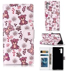 Cute Bear 3D Relief Oil PU Leather Wallet Case for Samsung Galaxy Note 10 (6.28 inch) / Note10 5G