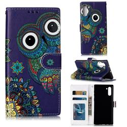 Folk Owl 3D Relief Oil PU Leather Wallet Case for Samsung Galaxy Note 10 (6.28 inch) / Note10 5G
