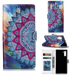 Mandala Flower 3D Relief Oil PU Leather Wallet Case for Samsung Galaxy Note 10 (6.28 inch) / Note10 5G