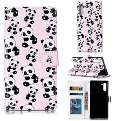 Cute Panda 3D Relief Oil PU Leather Wallet Case for Samsung Galaxy Note 10 (6.28 inch) / Note10 5G