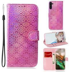 Laser Circle Shining Leather Wallet Phone Case for Samsung Galaxy Note 10 (6.28 inch) / Note10 5G - Pink