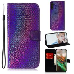 Laser Circle Shining Leather Wallet Phone Case for Samsung Galaxy Note 10 (6.28 inch) / Note10 5G - Purple