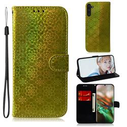Laser Circle Shining Leather Wallet Phone Case for Samsung Galaxy Note 10 (6.28 inch) / Note10 5G - Golden