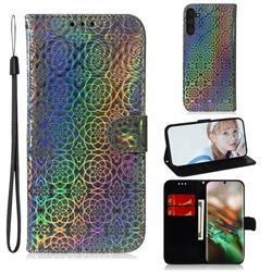 Laser Circle Shining Leather Wallet Phone Case for Samsung Galaxy Note 10 (6.28 inch) / Note10 5G - Silver