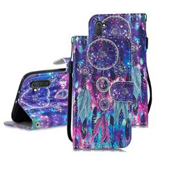 Star Wind Chimes 3D Painted Leather Wallet Phone Case for Samsung Galaxy Note 10 (6.28 inch) / Note10 5G