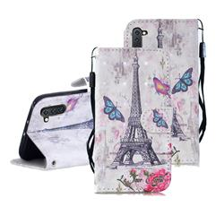 Paris Tower 3D Painted Leather Wallet Phone Case for Samsung Galaxy Note 10 (6.28 inch) / Note10 5G