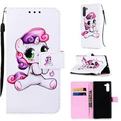 Playful Pony Matte Leather Wallet Phone Case for Samsung Galaxy Note 10 (6.28 inch) / Note10 5G