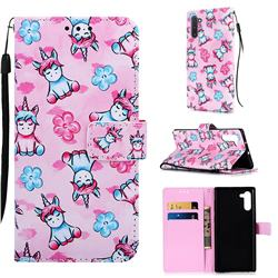 Unicorn and Flowers Matte Leather Wallet Phone Case for Samsung Galaxy Note 10 (6.28 inch) / Note10 5G