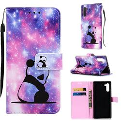 Panda Baby Matte Leather Wallet Phone Case for Samsung Galaxy Note 10 (6.28 inch) / Note10 5G
