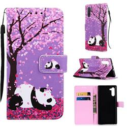 Cherry Blossom Panda Matte Leather Wallet Phone Case for Samsung Galaxy Note 10 (6.28 inch) / Note10 5G