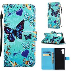Love Butterfly Matte Leather Wallet Phone Case for Samsung Galaxy Note 10 (6.28 inch) / Note10 5G