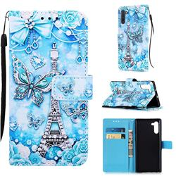 Tower Butterfly Matte Leather Wallet Phone Case for Samsung Galaxy Note 10 (6.28 inch) / Note10 5G