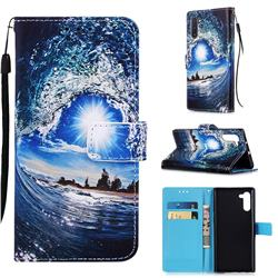 Waves and Sun Matte Leather Wallet Phone Case for Samsung Galaxy Note 10 (6.28 inch) / Note10 5G