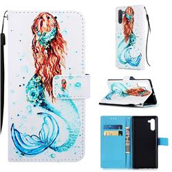 Mermaid Matte Leather Wallet Phone Case for Samsung Galaxy Note 10 (6.28 inch) / Note10 5G