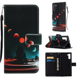 Wandering Earth Matte Leather Wallet Phone Case for Samsung Galaxy Note 10 (6.28 inch) / Note10 5G