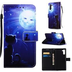 Cat and Moon Matte Leather Wallet Phone Case for Samsung Galaxy Note 10 (6.28 inch) / Note10 5G