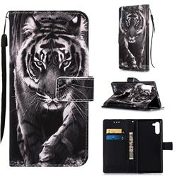 Black and White Tiger Matte Leather Wallet Phone Case for Samsung Galaxy Note 10 (6.28 inch) / Note10 5G