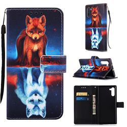 Water Fox Matte Leather Wallet Phone Case for Samsung Galaxy Note 10 (6.28 inch) / Note10 5G
