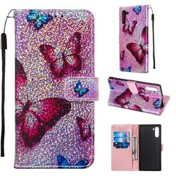 Blue Butterfly Sequins Painted Leather Wallet Case for Samsung Galaxy Note 10 (6.28 inch) / Note10 5G