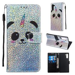 Panda Unicorn Sequins Painted Leather Wallet Case for Samsung Galaxy Note 10 (6.28 inch) / Note10 5G