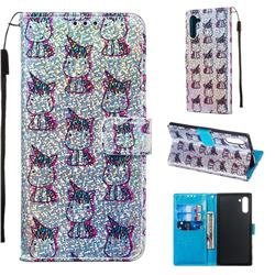 Little Unicorn Sequins Painted Leather Wallet Case for Samsung Galaxy Note 10 (6.28 inch) / Note10 5G
