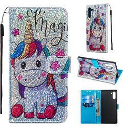 Star Unicorn Sequins Painted Leather Wallet Case for Samsung Galaxy Note 10 (6.28 inch) / Note10 5G