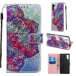 Glutinous Flower Sequins Painted Leather Wallet Case for Samsung Galaxy Note 10 (6.28 inch) / Note10 5G