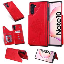 Luxury Tree and Cat Multifunction Magnetic Card Slots Stand Leather Phone Back Cover for Samsung Galaxy Note 10 (6.28 inch) / Note10 5G - Red