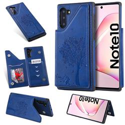 Luxury Tree and Cat Multifunction Magnetic Card Slots Stand Leather Phone Back Cover for Samsung Galaxy Note 10 (6.28 inch) / Note10 5G - Blue