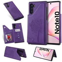 Luxury Tree and Cat Multifunction Magnetic Card Slots Stand Leather Phone Back Cover for Samsung Galaxy Note 10 (6.28 inch) / Note10 5G - Purple