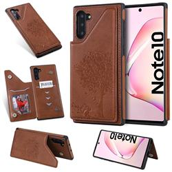 Luxury Tree and Cat Multifunction Magnetic Card Slots Stand Leather Phone Back Cover for Samsung Galaxy Note 10 (6.28 inch) / Note10 5G - Brown