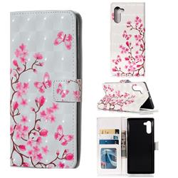 Butterfly Sakura Flower 3D Painted Leather Phone Wallet Case for Samsung Galaxy Note 10 (6.28 inch) / Note10 5G