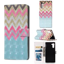 Color Wave 3D Painted Leather Phone Wallet Case for Samsung Galaxy Note 10 (6.28 inch) / Note10 5G