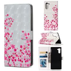 Cherry Blossom 3D Painted Leather Phone Wallet Case for Samsung Galaxy Note 10 (6.28 inch) / Note10 5G